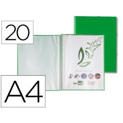 Carpeta con espiral 20 fundas A4 Verde