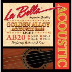 Juego Bajo Acústico LA BELLA Golden Alloy AB20 Light