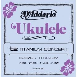 Cuerdas D'Addario EJ87C Titanium Ukulele Concert