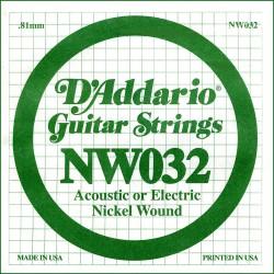 Cuerda Guitarra Eléctrica D'ADDARIO NW032