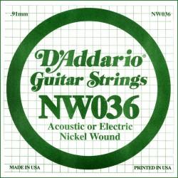 Cuerda Guitarra Eléctrica D'ADDARIO NW036